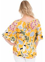 Floral printed Short Sleeve Jersey Top Mustard - Gallery Image 2