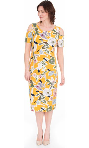 Cold Shoulder Printed Jersey Midi Dress Mustard