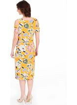 Cold Shoulder Printed Jersey Midi Dress Mustard - Gallery Image 2