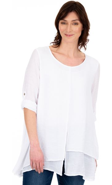 Layered Crinkle Tunic White