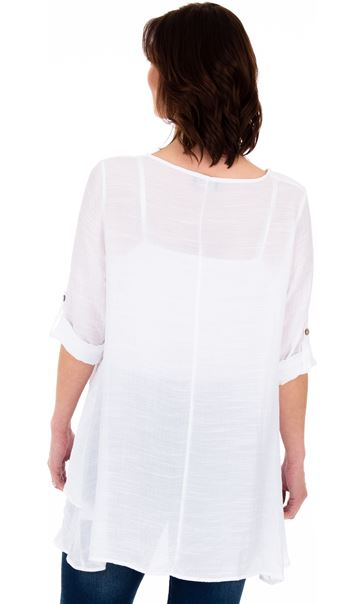 Layered Crinkle Tunic White - Gallery Image 2
