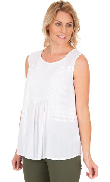 Sleeveless Crinkle Top White
