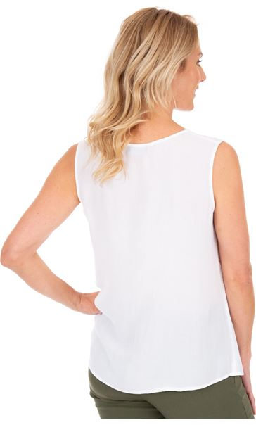 Sleeveless Crinkle Top White - Gallery Image 2
