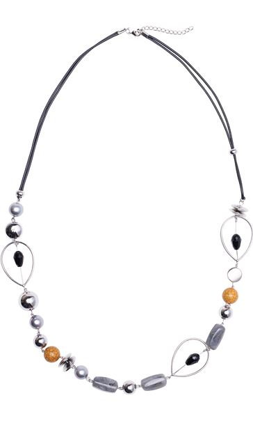 Mixed Beaded Necklace Yellow/Silver
