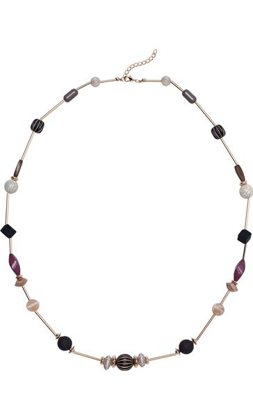 Mixed Bead Necklace Gold