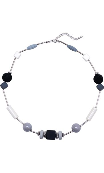 Geometric Beaded Necklace Silver/Black