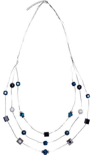 Multi Layered Mixed Bead Long Necklace Blue/Silver