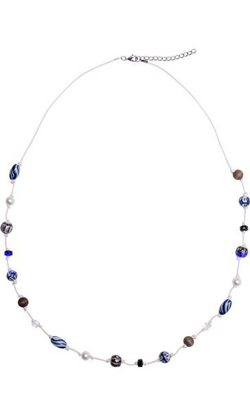 Natural Mixed Bead Necklace Blue