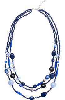 Multi Layered Mixed Bead Necklace - Blue