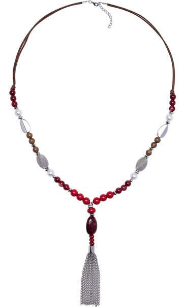 Beaded And Tassel Long Necklace Red/Silver