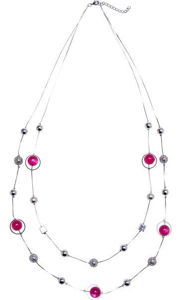 Multi Layered Mixed Bead Necklace Pink