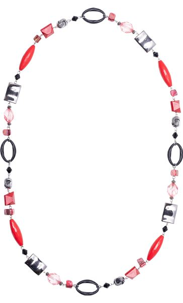 Mixed Beaded Necklace Red
