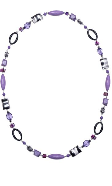 Mixed Beaded Necklace Lilac