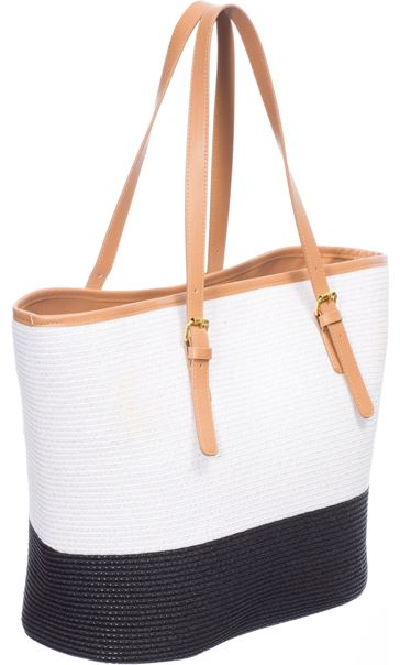 Colour Block Beach Bag Black
