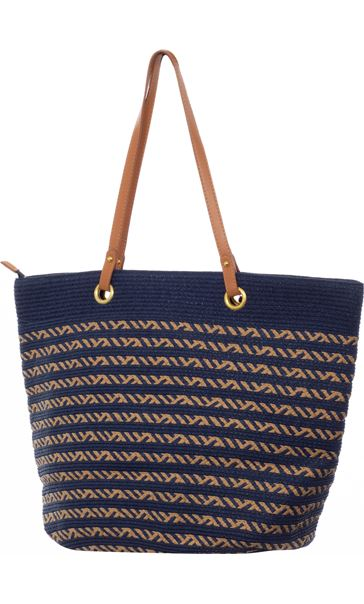 Thin Striped Beach Bag Blue
