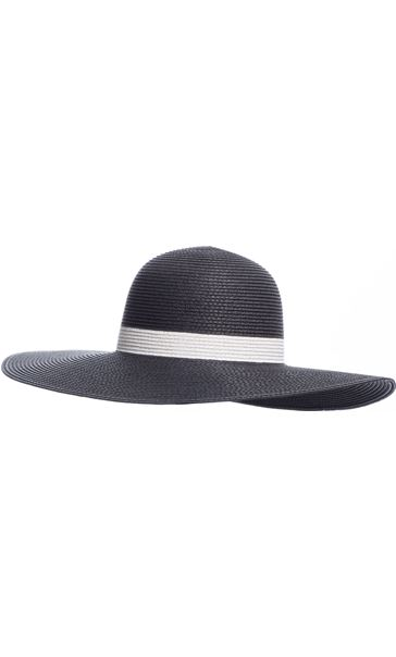 Contrast Metallic Stripe Floppy Hat Black