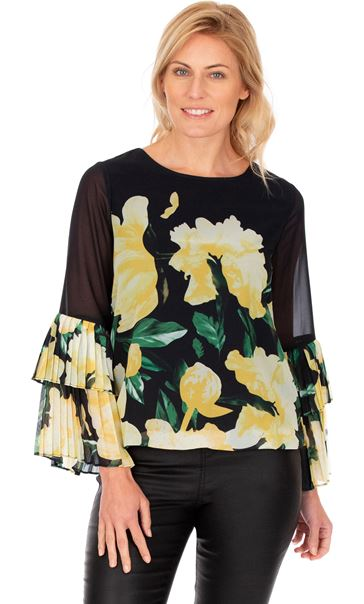 Floral Printed Layered Pleated Cuff Top Black/Lemon