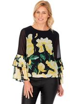 Floral Printed Layered Pleated Cuff Top