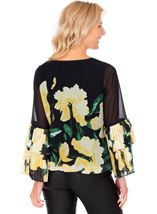 Floral Printed Layered Pleated Cuff Top Black/Lemon - Gallery Image 2