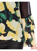 Floral Printed Layered Pleated Cuff Top Black/Lemon - Gallery Image 3