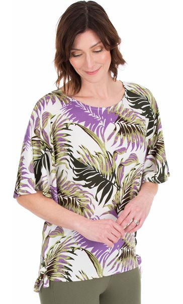 Printed Loose Fitting Stretch Top Lilac/Khaki