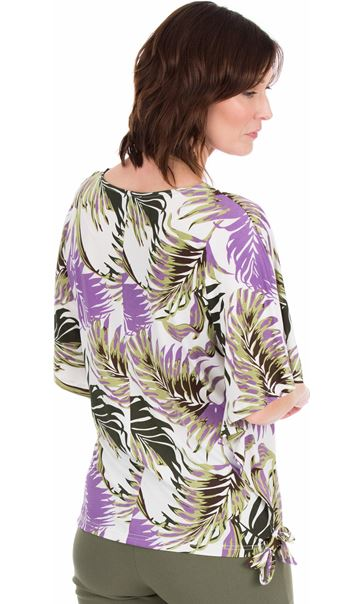 Printed Loose Fitting Stretch Top Lilac/Khaki - Gallery Image 2