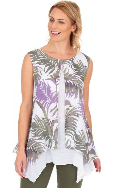 Palm Print Layered Sleeveless Top Khaki/Lilac/White
