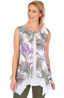 Palm Print Layered Sleeveless Top
