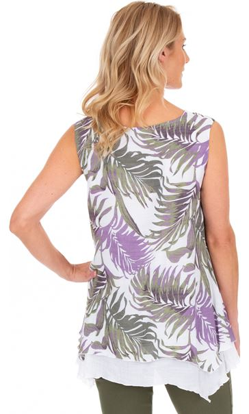 Palm Print Layered Sleeveless Top Khaki/Lilac/White - Gallery Image 2