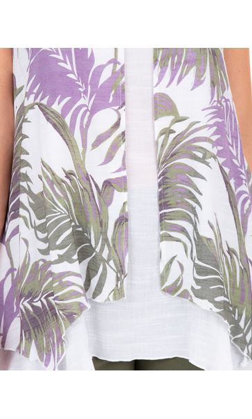 Palm Print Layered Sleeveless Top Khaki/Lilac/White - Gallery Image 3