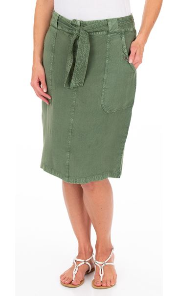 Washed Self Tie Pencil Skirt Khaki