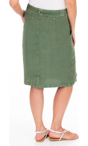 Washed Self Tie Pencil Skirt Khaki - Gallery Image 2