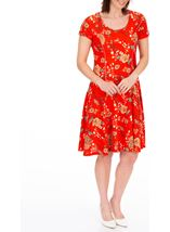 Anna Rose Floral Textured Jersey Dress Red Multi - Gallery Image 1