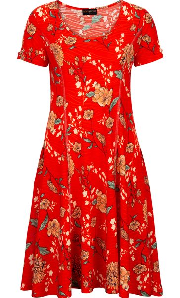 Anna Rose Floral Textured Jersey Dress Red Multi - Gallery Image 4