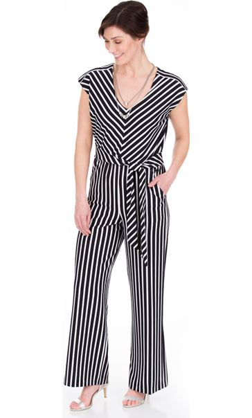 Sleeveless Striped Wide Leg Jumpsuit Black/Ivory