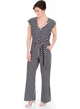 Sleeveless Striped Wide Leg Jumpsuit Black/Ivory - Gallery Image 1