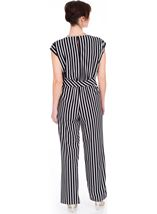 Sleeveless Striped Wide Leg Jumpsuit Black/Ivory - Gallery Image 2