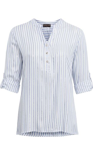 Anna Rose Stripe Shimmer Top White/Blue