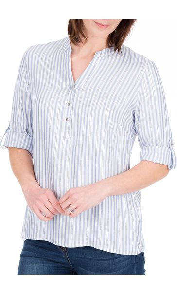 Anna Rose Stripe Shimmer Top White/Blue - Gallery Image 2