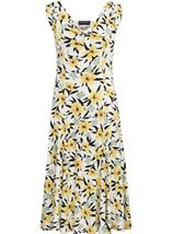 Anna Rose Cowl Neck Floral Print Midi Dress Black/White/Lemon - Gallery Image 1