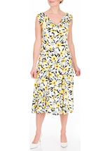 Anna Rose Cowl Neck Floral Print Midi Dress Black/White/Lemon - Gallery Image 2