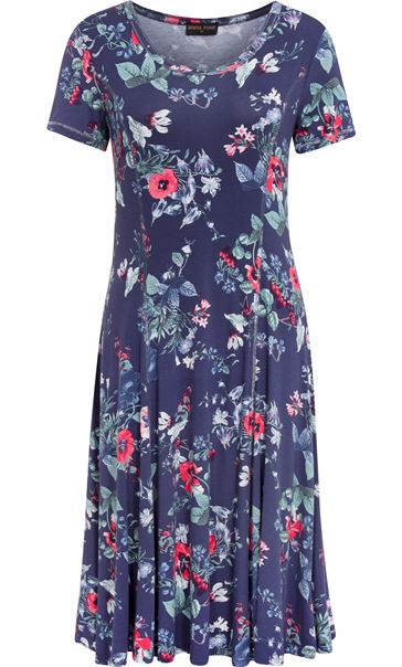 Anna Rose Floral Printed Jersey Dress Navy/Coral