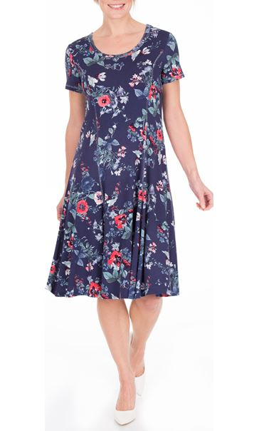 Anna Rose Floral Printed Jersey Dress Navy/Coral - Gallery Image 2