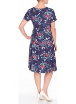 Anna Rose Floral Printed Jersey Dress Navy/Coral - Gallery Image 3
