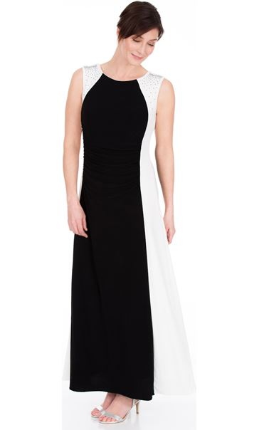 379326688dc9 BLACK IVORY Embellished Colour Block Maxi Dress -