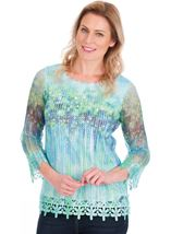 Print And Sequin Round Neck Crochet Top Emerald/Blue - Gallery Image 1