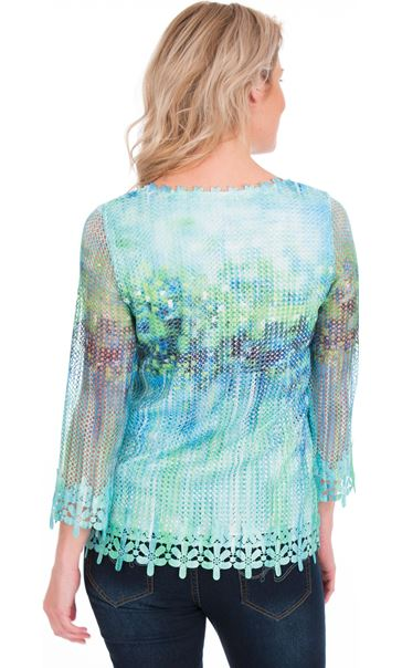 Print And Sequin Round Neck Crochet Top Emerald/Blue - Gallery Image 2