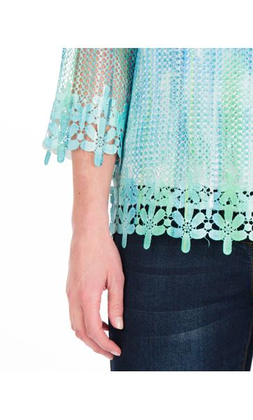 Print And Sequin Round Neck Crochet Top Emerald/Blue - Gallery Image 3