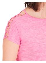 Criss Cross Shoulder Gym Top Pink - Gallery Image 3