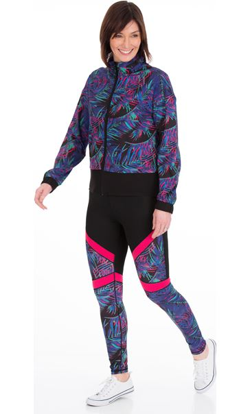 Printed Zip Up Gym Jacket Black/Pink/Multi